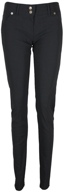 Purple Hanger PurpleHanger Women's Stud Button Straight Leg Plain Pants Black 10