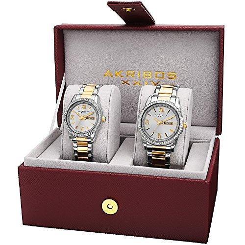 Akribos XXIV Men's and Women's AK888TTG  Watch with Silver Dial and Two Tone  Bracelet Ensemble - Hers Set Watch