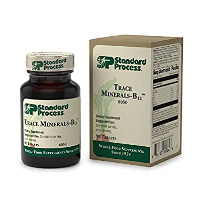 Standard Process - Trace Minerals-B12 - Supports Healthy Cell Function, Thyroid, Spleen, Blood, Bone, Joints, Immune System, Provides Vitamin B12, Iron, Iodine, Zinc, Copper, Manganese - 90 Tablets