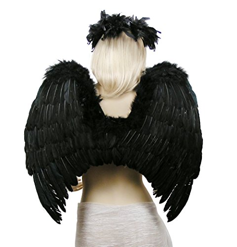 [FashionWings (TM) Black Fallen Angel Costume Feather Wings Halo Mask Set] (Angel Wings For Halloween Costumes)