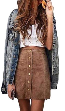 Frieed - Mini Falda de Ante sintético con Botones de Cintura Alta ...