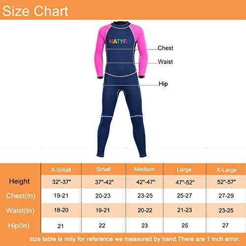 7195e11f174 Neoprene Wetsuits for Kids Boys Girls Back Zipper One Piece Swimsuit UV  Protection-Brand NatyFly (Pink-2MM-Long Sleeve