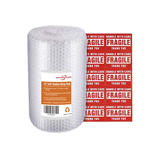 Offitecture Bubble Wrap Roll, 3/16? Air Bubble Cushioning, 12 Inch x 36 Feet, Perforated Every 12?, 10 Fragile Stickers Included