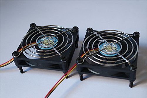 CANO (2-PACK)cooling fan with Grill 7CM long life Dual Ball Bearing fan for pc, Computer Cases, CPU Coolers, and Radiators , TV Box Router Cooler (70mm DC12V, 3pin)
