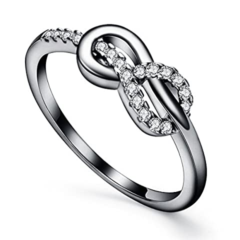 Sterling Silver Wedding Infinity Rings, M&D Jewelry Cute High Polish Tarnish Resistant Cubic Zirconia Anniversary Promise Engagement Rings For Women, Best Friends, Teen - Tarnish Proof