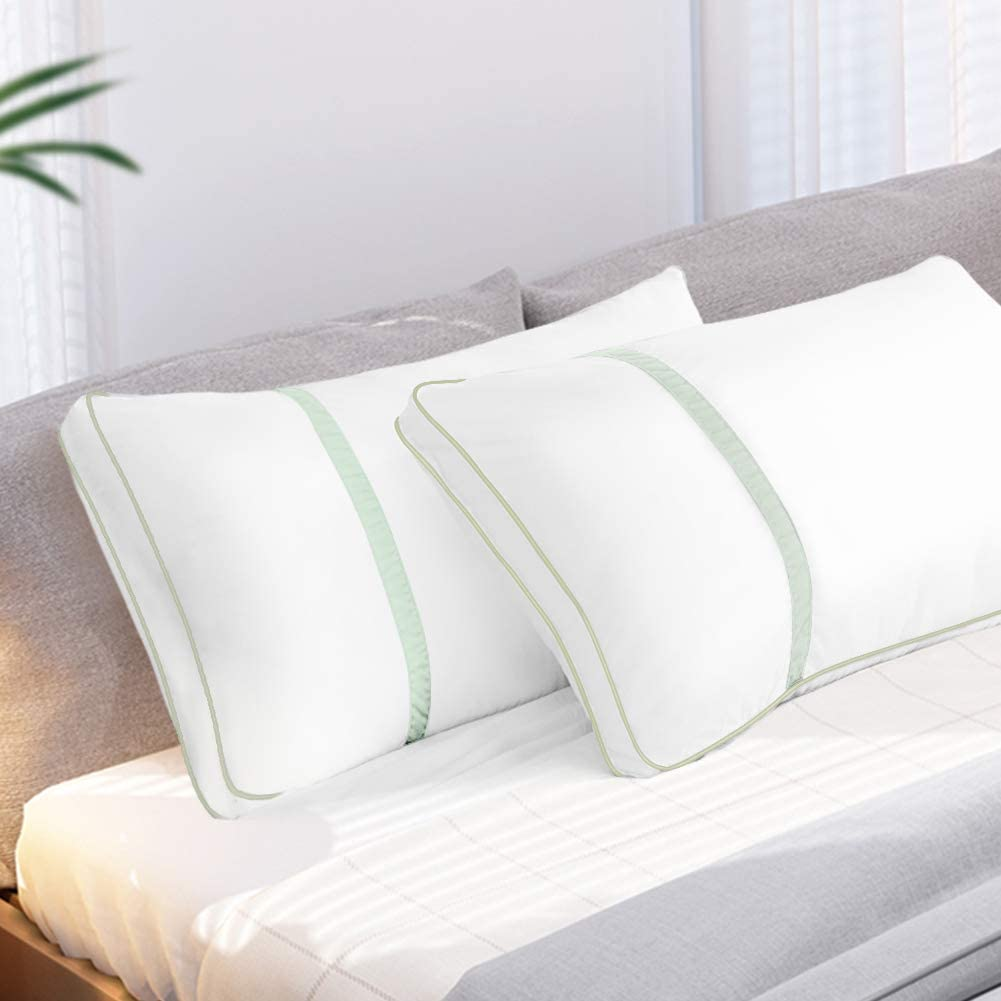 BedStory Pillows for Sleeping 2 Pack King Size, Hotel Quality Bed Pillow, Down Alternative Sleep Pillows with Ultra Soft Fiber Fill, Good for Back and Side Sleepers - Green