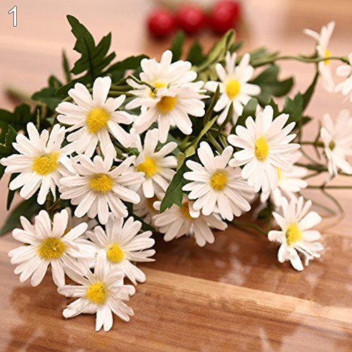 (Finance Plan Clearance Sale 1 Bouquet 9 Heads Artificial Daisy Flower Plant Outdoor Indoor Wedding Decor White)