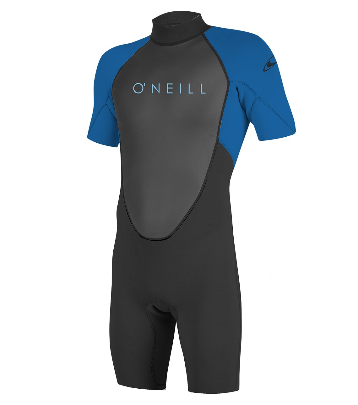 O'Neill Youth Reactor-2 2mm Back Zip Short Sleeve Spring Wetsuit, Black/Ocean, 6 by O'Neill Wetsuits (Image #1)