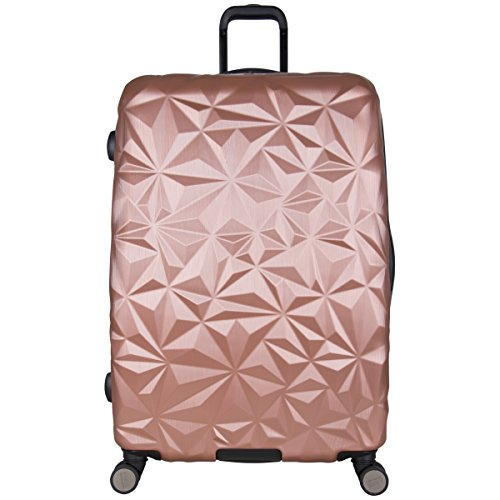 Aimee Kestenberg Womens Geo Chic 28 Hardside Expandable 8-Wheel Spinner Checked Luggage, Rose Gold