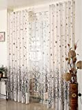 Elleweideco Modern Tree Branch Window Curtains/drape/panel and Matching Sheer (Broown Green Dots, 52Wx95L Curtain) Review