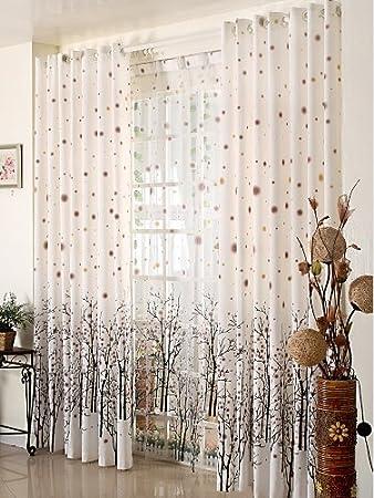 Good Elleweideco Modern Tree Branch Window Curtains/drape/panel And Matching  Sheer (Broown Green