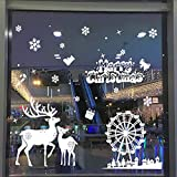 Wall Decal Cute Santa Claus Christmas Self-Adhesive Window Decorations Christmas Decorations Upgrade Stars Christmas Reindeer Stickers Snowflakes Stickers Winter Decoration Christmas Removable