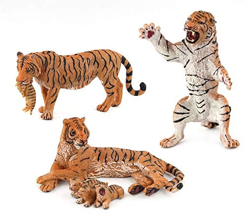 Tiger Family Animal Toy The King Lion | 3 Piece Action Figure Set | Cake Topper, Party Favor Supplies