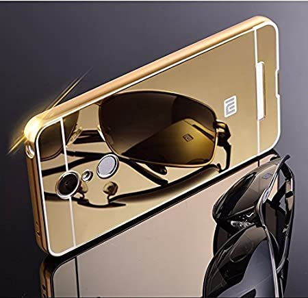RKMOBILES Xiaomi Redmi Note 3 Luxury Metal Bumper Acrylic Mirror Back Cover Case Gold Cases   Covers