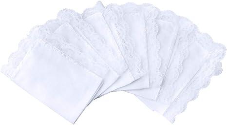 10x Men //Women Cotton White Handkerchiefs Soft Hanky Party Hankies