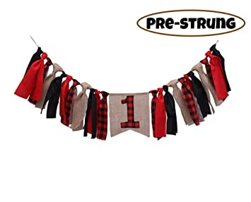 Lumberjack Highchair Banner for 1st birthday,Camping Theme Timber Buffalo Plaid Baby Boy First Birthday Party Decorations and Photo Backdrop