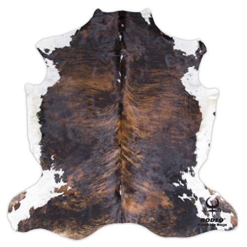 RODEO Classic Brown Brindle Cowhide Rug XXL 6x8 Ft