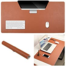 """KingBig 35.4"""" x 17"""" Office Desk Pad Protector, Brown - Silver Double-Sided Desk Mat – PU Leather Computer Table Mat Comfortable Writing Surface Desk Accessories for Office and Home (Brown - Gray)"""