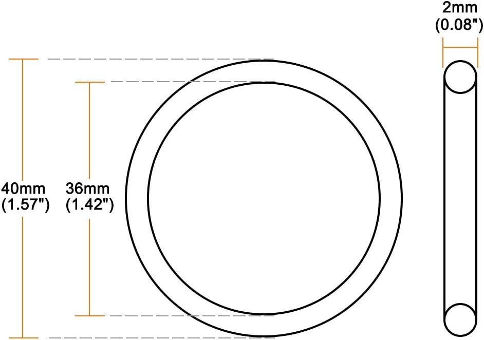 sourcing map Juntas t/óricas Caucho fl/úor 5 mm x 9 mm x 2 mm Anillos de sellado Junta de sellado 2 piezas