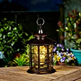 Outdoor Garden Lighthouse Lantern - Battery Powered - Warm White LEDs by Festive Lights 30cm (Bronze)
