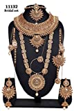 Fabulous Indian Style Golden Plated Polki Kundan Stone Indian Necklace Earrings Bridal Set Partywear Jewelry