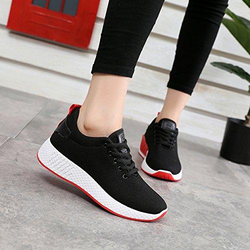 NGRDX&G Comodidad Señoras Deportes Zapatos Aire Malla/Zapatos De Mujer Color Sólido Negro/Blanco/Rosa Zapatos Tamaño 35-40 Yardas Black