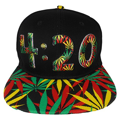 Cap2shoes Marijuana Weed Leaf Cannabis Snapback Hat Cap (4:20 Rasts)