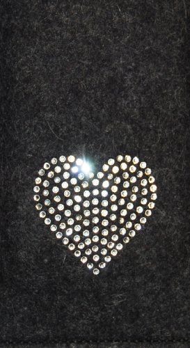 Krings Fashion®–Custodia per Samsung Galaxy S4Mini e iPhone 5C, feltro colore antracite, con cuore in cristalli Swarovski®; qualità dalla Germania