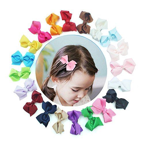 20pc 3 inches Boutique Windmill Style Hair Bows Girls Baby Grosgrain Ribbon Headbands Alligator Hair Clip