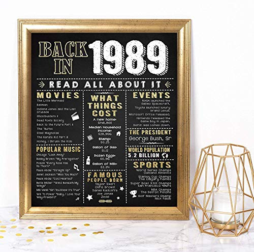 Katie Doodle 30th Birthday Gifts for Men Women | Includes 8x10 Back-in-1989 Sign [Unframed], BD230, Black/Gold