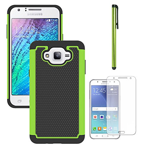 Galaxy J7 Neo J701M/J7 Nxt J701F/J7 Core J701 Case, With Screen Protector, Telegaming Dual Layer Armor Case Drop Protection TPU & Hard PC Back Cover For Samsung Galaxy J7 Neo/J7 Core Duos Green