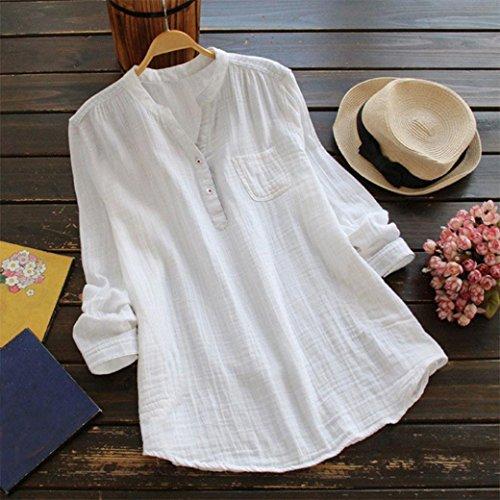 Manches Neck T Tunique Chemise Longue Taille Blanc Shirt Blouse V Grande Femmes Tops t4wqYax