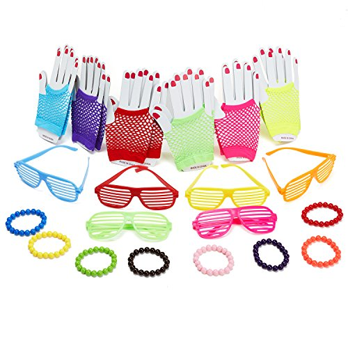 KaKaxi 80s Party Supply Retro Rock Pop Star Disco Dress-Up Party Pack Supply Set with Fingerless Fishnet Neon Gloves,Plastic Shutter Glasses Shades Sunglasses,Assorted Neon Beaded (Costume Party Ideas For Adults)