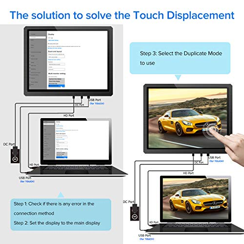 Touch Monitor, UPERFECT 12.3 Computer Display 1600×1200 Portable Monitor Capacitive External Screen 4:3 Speakers VESA Fit with HDMI DVI VGA Micro USB DC for PC Phone MAC Win PS4 Xbox TV Industry