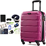 Samsonite Omni Hardside Luggage 20'' Spinner Radiant Pink (68308-0596) with Deco Gear Ultimate 10pc Luggage Accessory Kit