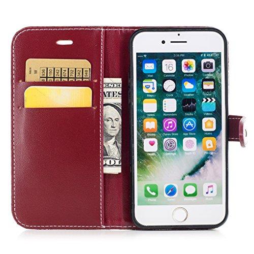 Trumpshop Smartphone Carcasa Funda Protección para Apple iPhone 7 (4.7 Pulgada) [Vino Rojo] Patrón de Piel de Cocodrilo PU Cuero Caja Protector Billetera Choque Absorción Vino Rojo