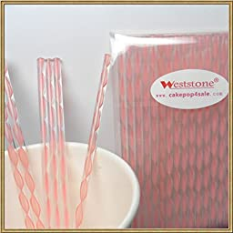 Weststone - 50pcs Colorful Acrylic swirl sticks for cake pop or lollipop candy (Pink)