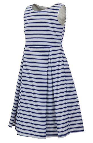 Emma Riley Girls' Printed Stripe Dress with Pleated A-Line Skirt 8 Navy