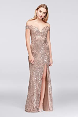 David\'s Bridal Off-The-Shoulder Lace Prom Dress With Sequin ...