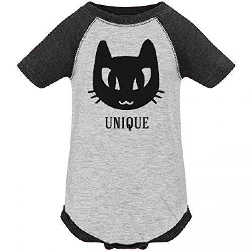 [Baby Unique Black Cat Halloween Costume: Infant LAT Vintage Raglan Bodysuit] (Cute Unique Infant Halloween Costumes)