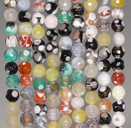 6MM Party Mix FIRE Agate Gemstone Faceted Round Loose Beads 14.5