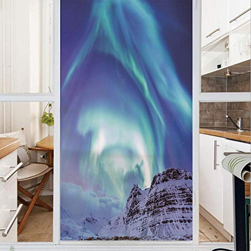 Decorative Window Film,No Glue Frosted Privacy Film,Stained Glass Door Film,Aurora Borealis at Kirkjufell Iceland Natural Phenomenon Northen Environment Decorative,for Home & Office,23.6In. by 59In Aurora Stained Glass Mirror