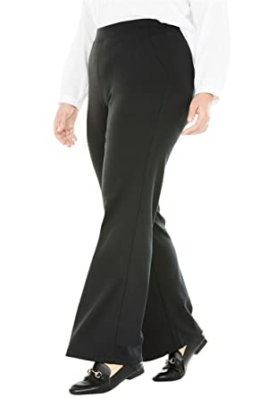 b118ac2fb742e Woman Within Plus Size Tall Wide Leg Ponte Knit Pant at Amazon ...