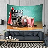 smallbeefly Movie Theater Wall Tapestry Production Theme 3D Film Reels Clapperboard Tickets Popcorn and Megaphone Home Decorations for Living Room Bedroom 80''x60'' Multicolor