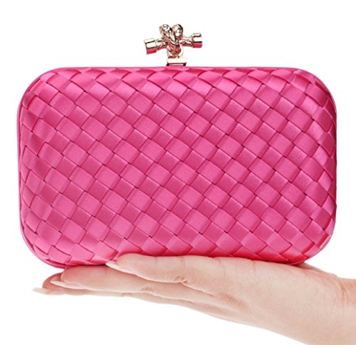 Gift Evening Hotpink Clutch Women Purse Bag Handbag Bridal Clubs Ladies Prom Bag Party For Wedding Woven Shoulder ZwqaCwt4