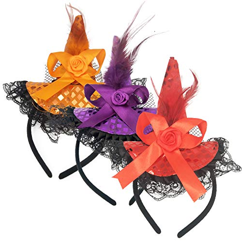 3pcs Halloween Witch Hat Headband - Gift Girl Kids Party Game Favor Cosplay ()