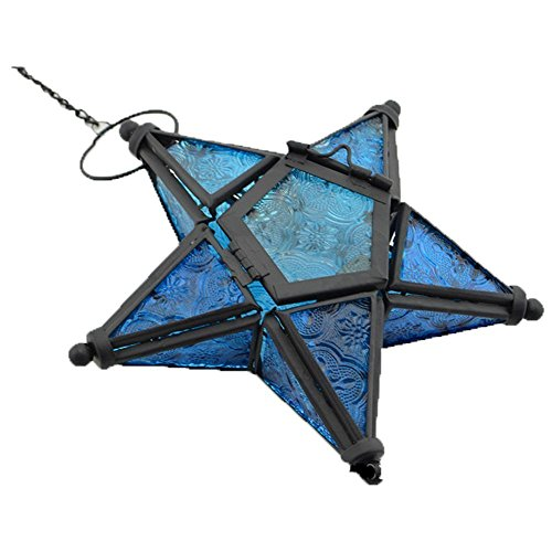 - Stunning Star Glass Votive Tea Light Candle Holder Hanging Lighting Lantern Wedding Birthday Party Home Garden Decoration (Blue)