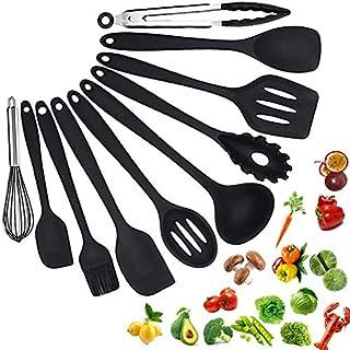 Silicone Cooking Utensils Set Heat Resistant Cooking Utensils Set NoScratch Easy To Clean BPA - Free Kitchen Utensils Set For Cooking 10PCS(BLACK)