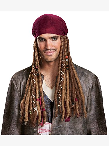 Disney Men's POTC5 Jack Sparrow Bandana with Dreads-Adult  Multi  One Size by Disguise ()