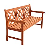 Vifah V205-1 Outdoor Baltic Wood Decorative Back Garden Bench, 5' Natural